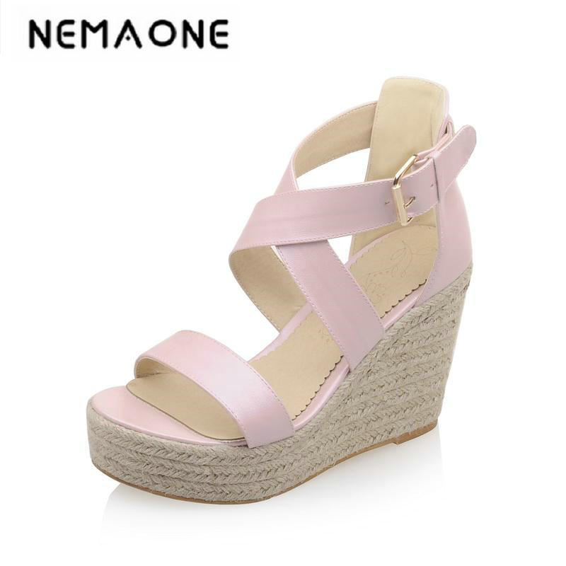 Big size 34-43 new Women Sandals Vintage Design cross Strap Open Toe Summer Shoes wedges Heel Platform Sandals ribetrini women hot sale cow leather low heel wedges summer casual shoes woman ankle strap open toe platform sandals size 34 39