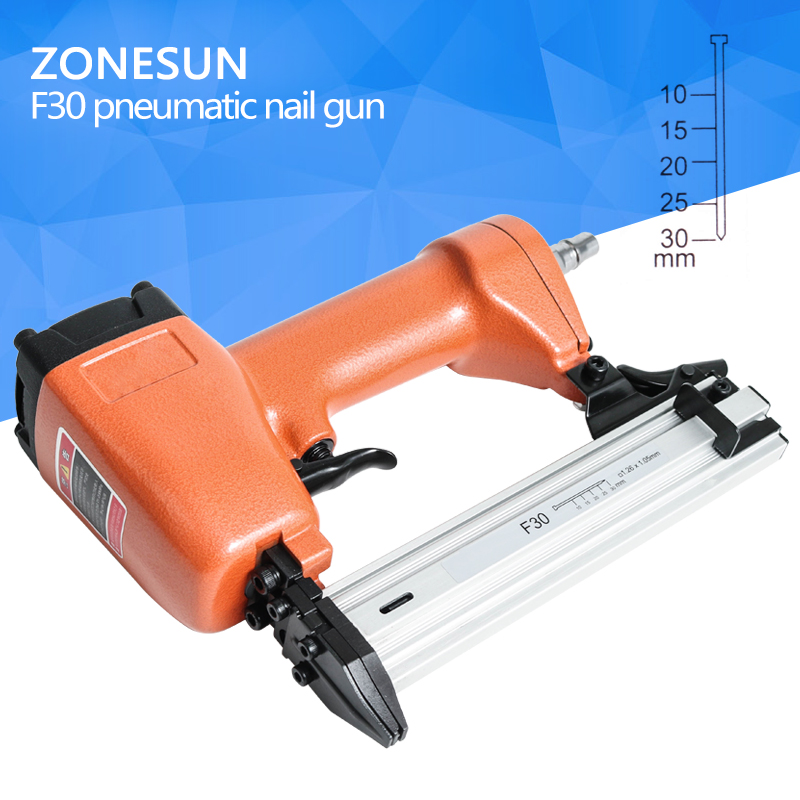 ZONESUN F30 Carpenter Pneumatic Nail Gun Woodworking Air straight Nails Home DIY Carpentry Decoration 1000 pcs 0 3 stud 0 2 wire non insulated bare ring lug terminal connector