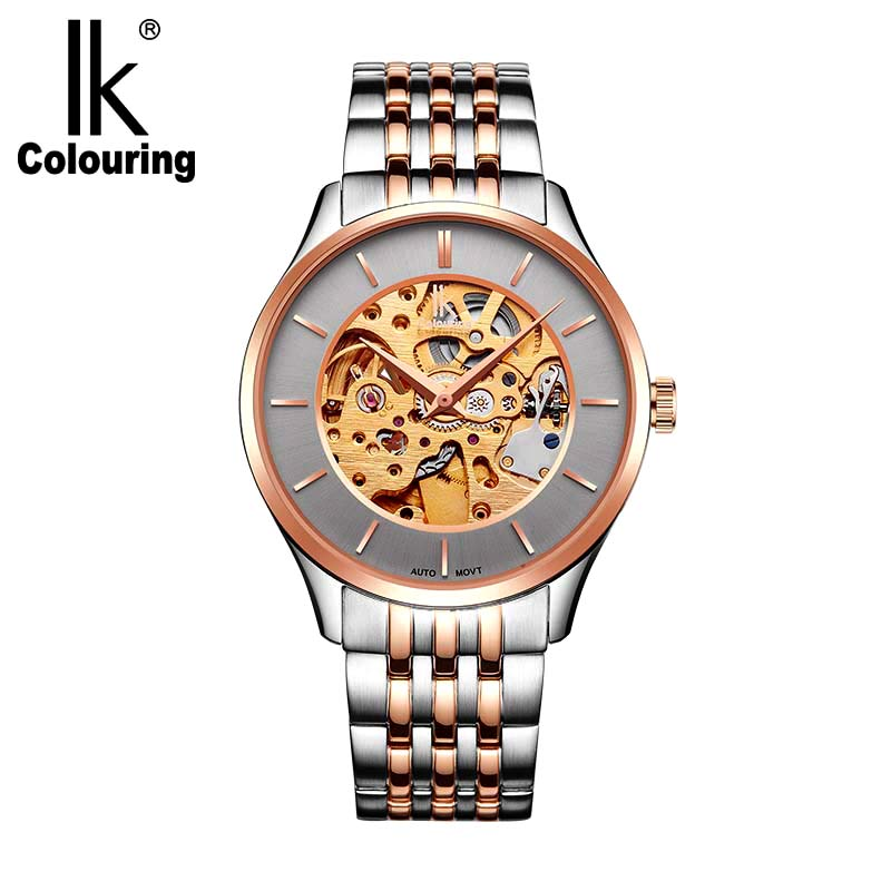 IK colouring Men 's Watches Mechanical Hollow Automatic Wristwatch 5ATM Waterproof Luxury Stainless Steel Male Relogio Masculino men s watches automatic machine hollow men s wear waterproof men s watches