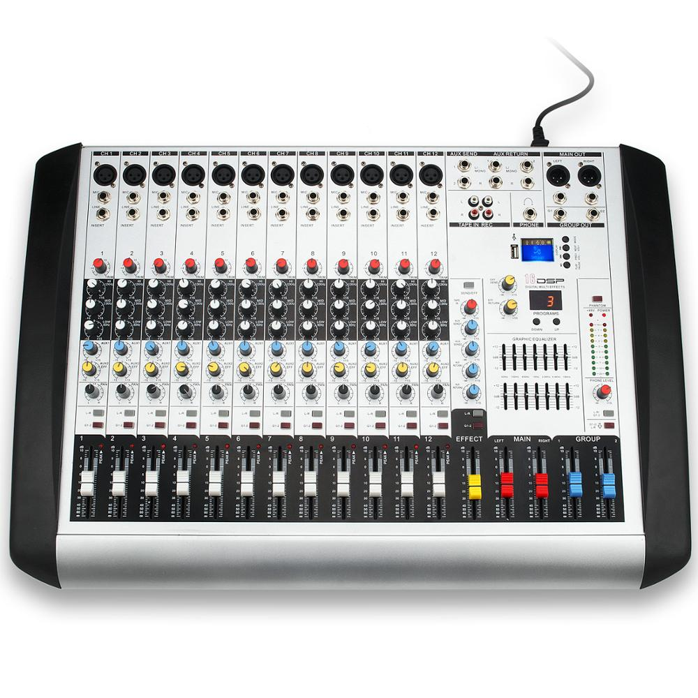 Coomusic Professional MX 12 USB Portable Mixing Console 12 Channels 12 DSP DJ Bluetooth Audio Sound Mixer