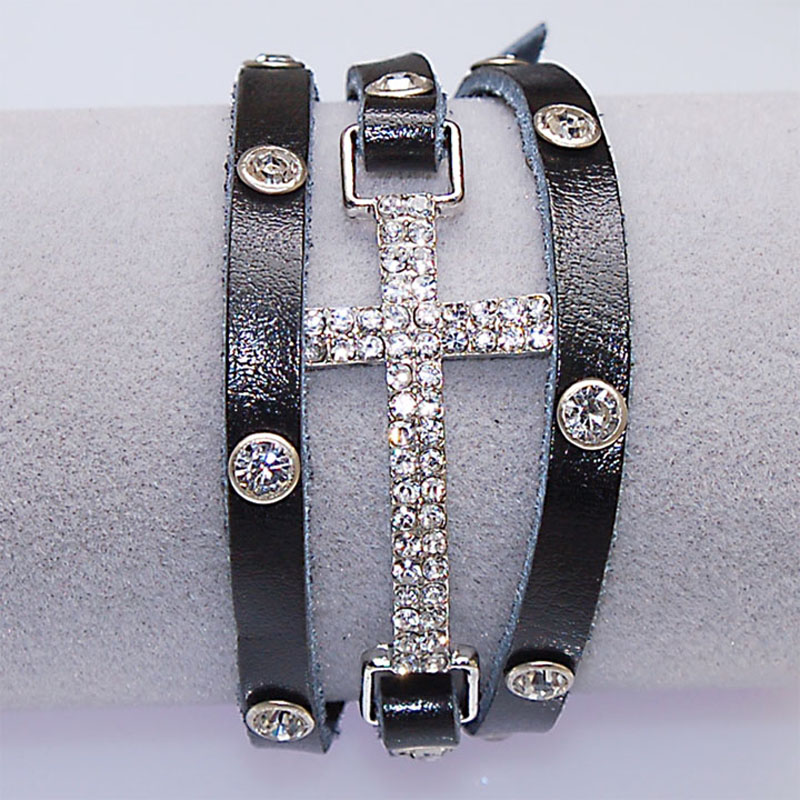 Crystal Micro Pave CZ Disco Cross Charm Double Wrap Real Leather Wrapped Charm Bracelets For Women Gift B1473 5