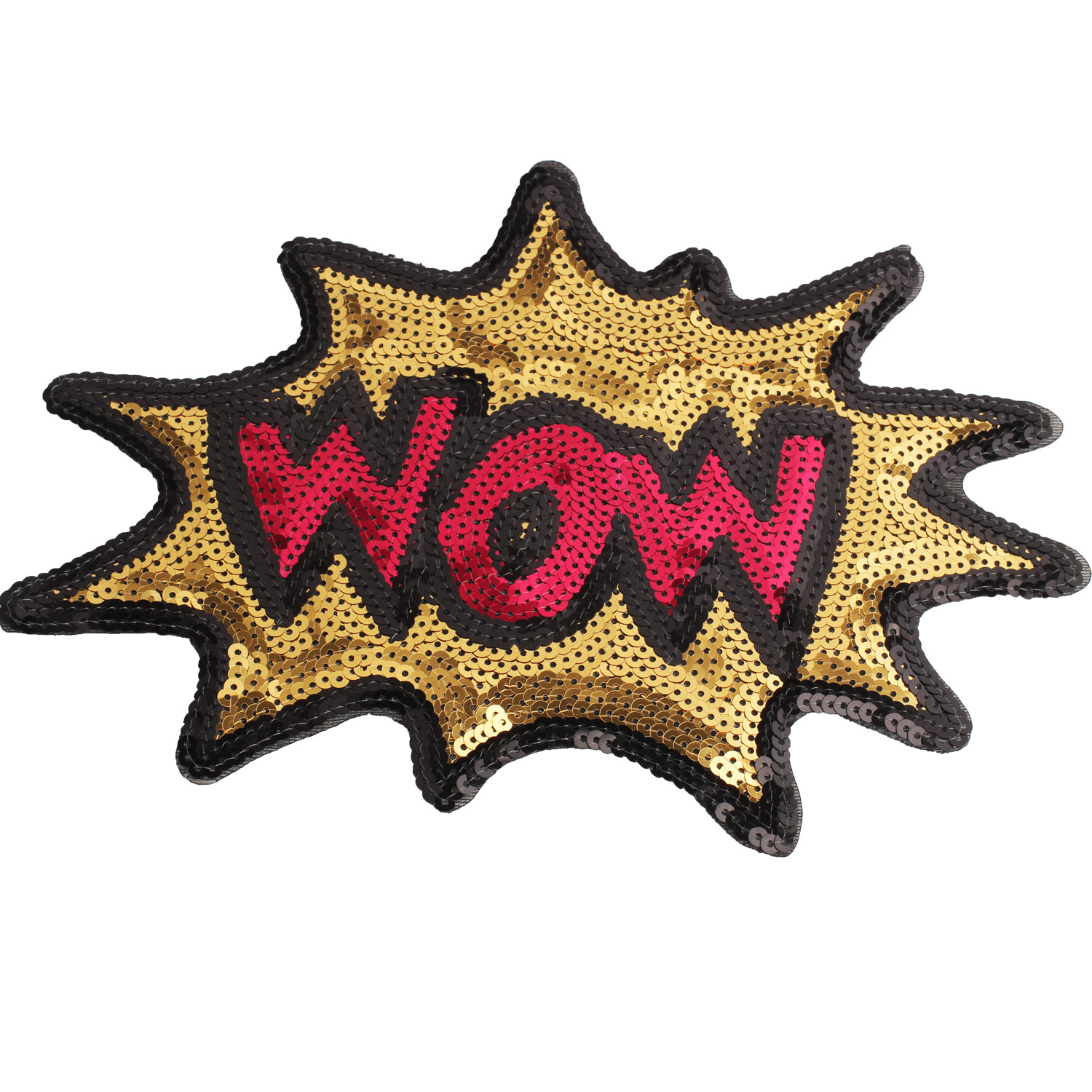 New Cartoon Large Sequin Letters WOW Embroidery Cloth Patch Clothing Accessories Bag Decoration