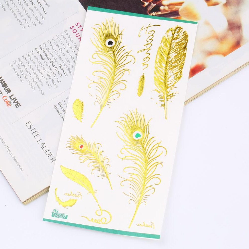 flash gold metallic different styles Body painting glitter gold tattoo stickers temporary flash tattoo Disposable large tattoos