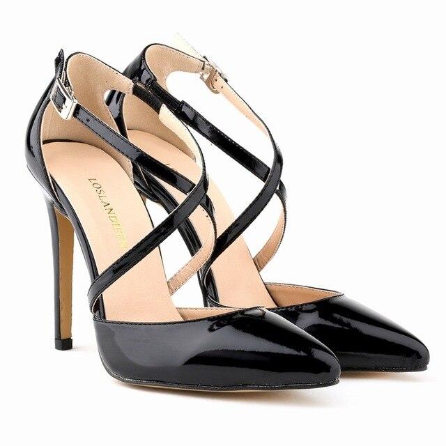 Мода Женщин Stilettos11CM Тонкие Каблуки Лодыжки Ремень Острым Носом Насосы Кожаные Ботинки Сексуальные Босоножки Свадебные Туфли Большой Размер
