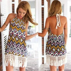 Save 0.68 on Fashion Beach Sexy Tropical Quality Summer Dress Print Brand Female Summer Style Vestido De Festa Women Dress Femininas