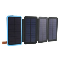 30000 mAh Solar Power Bank Waterproof Three Fold Powerbank Portable Charger Power Source With Camping Light For Mobile Phone