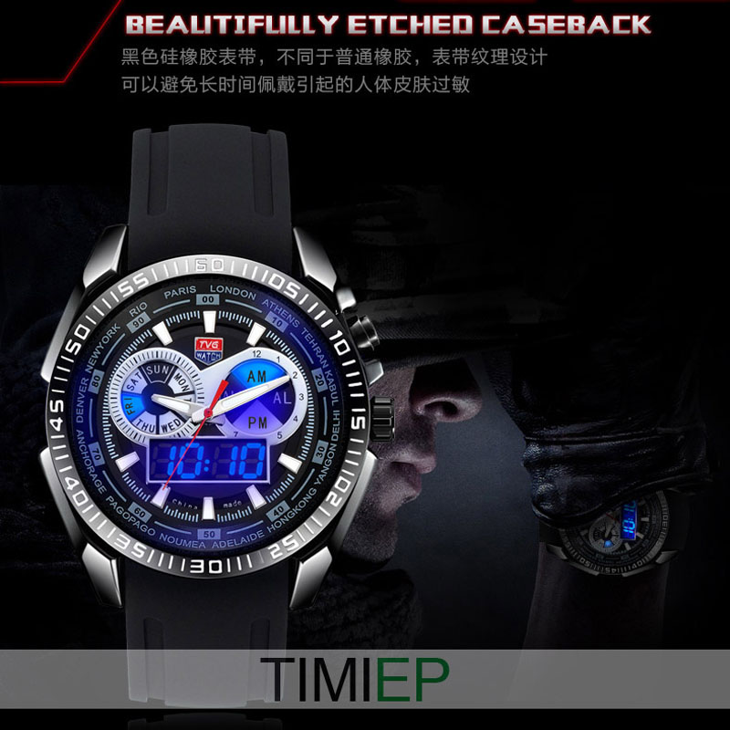 Tvg Pride New Design Led Binary Mens Sport Wrist Watches X6 Waterproof Wholesale China Flash Watches