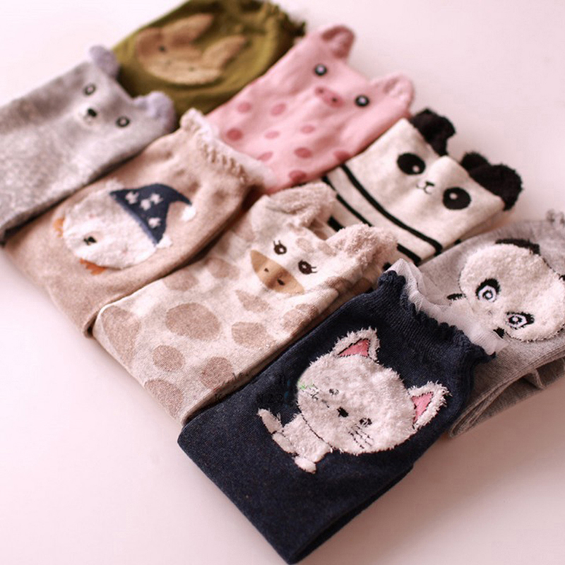 women autumn and winter cute 3d ears cartoon animal cotton socks for woman casual standard chasractter socks HO985991