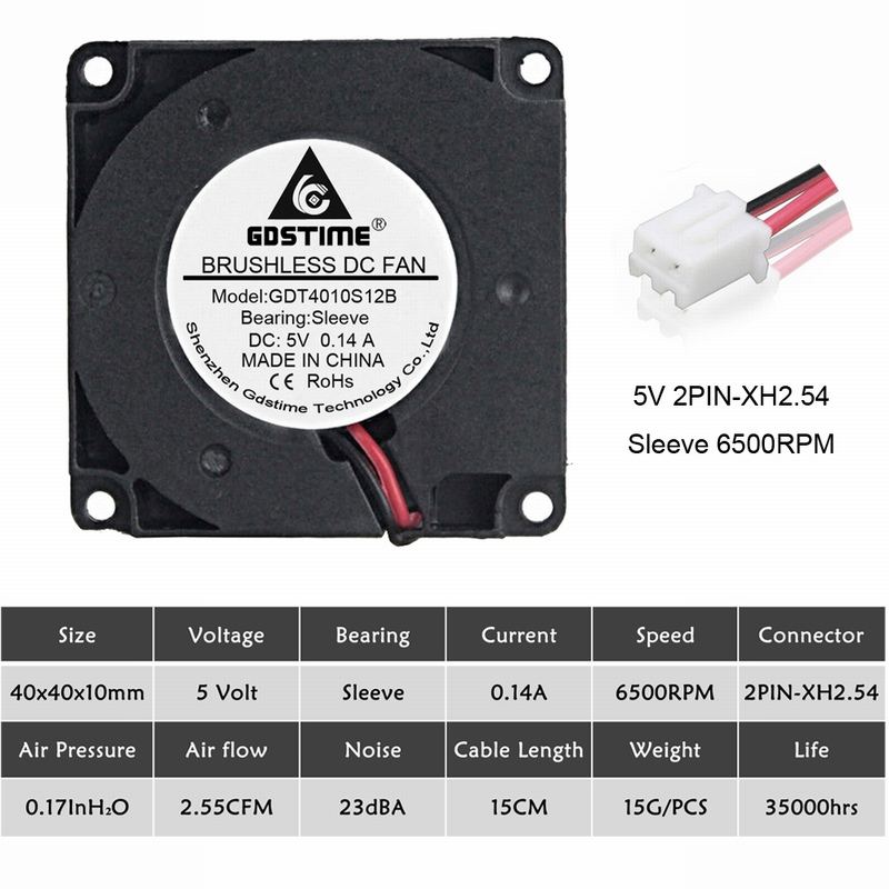 2 шт. Gdstime 40 мм 3d принтер вентилятор 12 в 24 в 5 В 4010 вентилятор для принтера охлаждающие аксессуары DC турбо вентилятор Радиальные Вентиляторы 40x40x10 мм - Цвет лезвия: 5V Sleeve 6500RPM