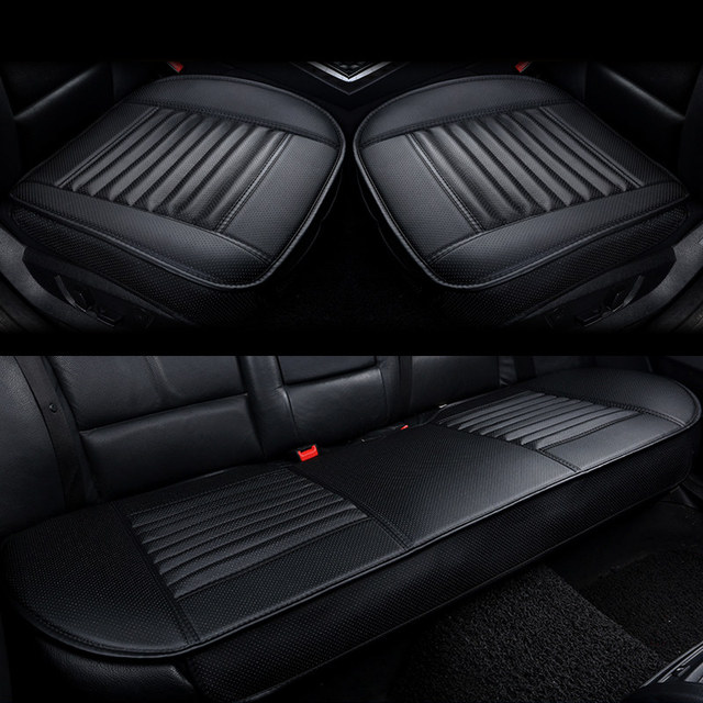 Tampas de assento de carro couro do plutônio protetor de assento de carro almofadas de bambu carvão coxim de carro lado em torno da capa de assento quatro estações
