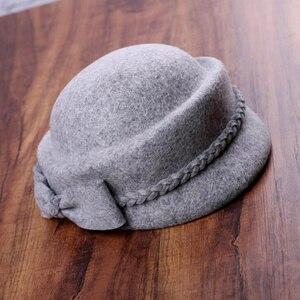 Image 5 - エレガントな 100% ウール Fedora の冬帽子女性女性の弓のベレー帽キャップピルボックス帽子 H3