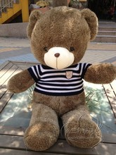 lovely big bear toy plushed toy stuffed bear toy teddy bear birthday blue and white clothes bear about 60cm
