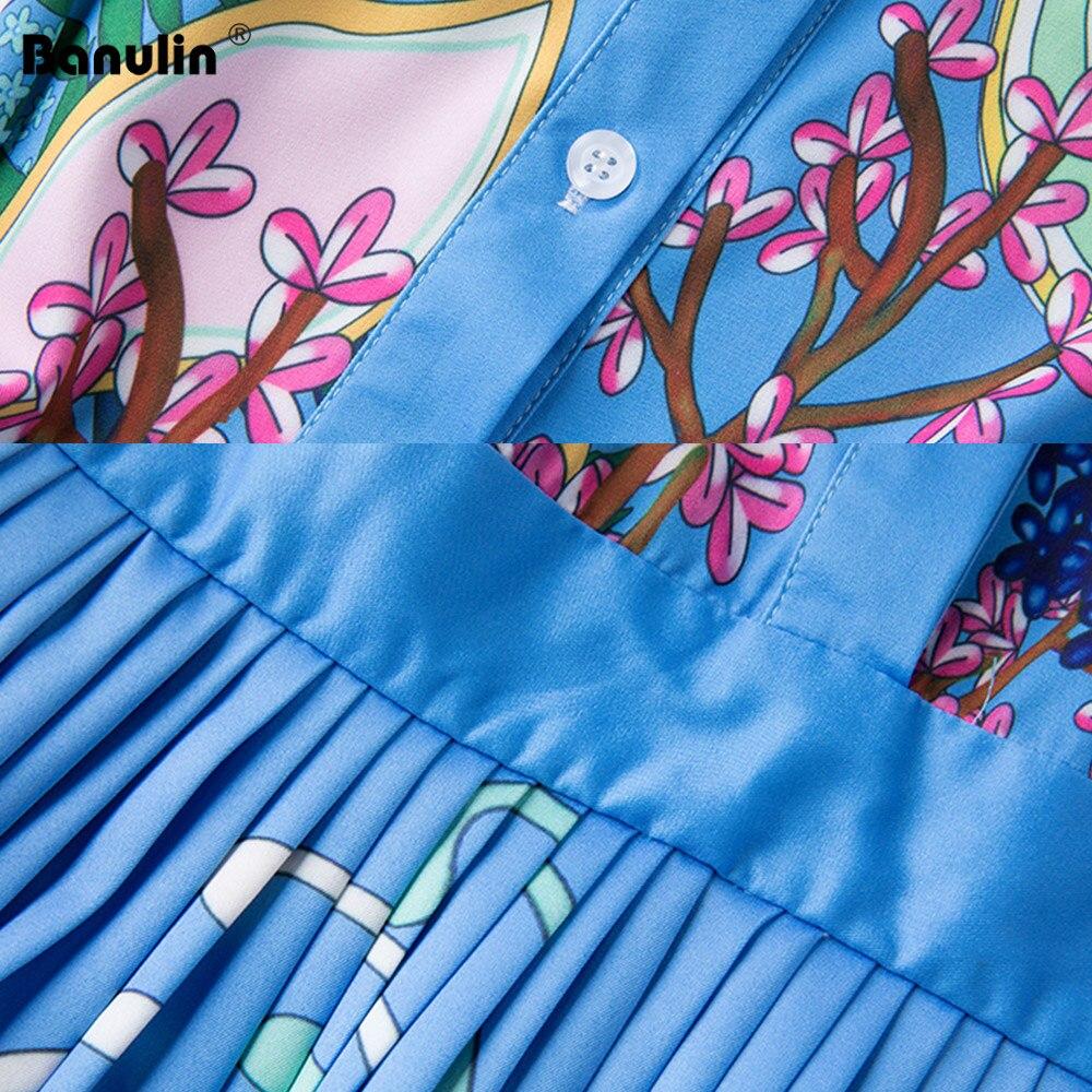 Image 5 - Banulin 2019 Runway Designer Autumn Dress Womens Short Sleeve  Casual Holiday Blue Floral Print Slim Pleated Elegant DressDresses   -