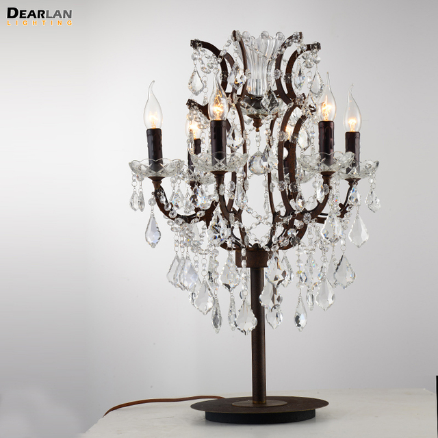 6 Lights Rustic Crystal Table Lamp Wrought Iron Desk Light For