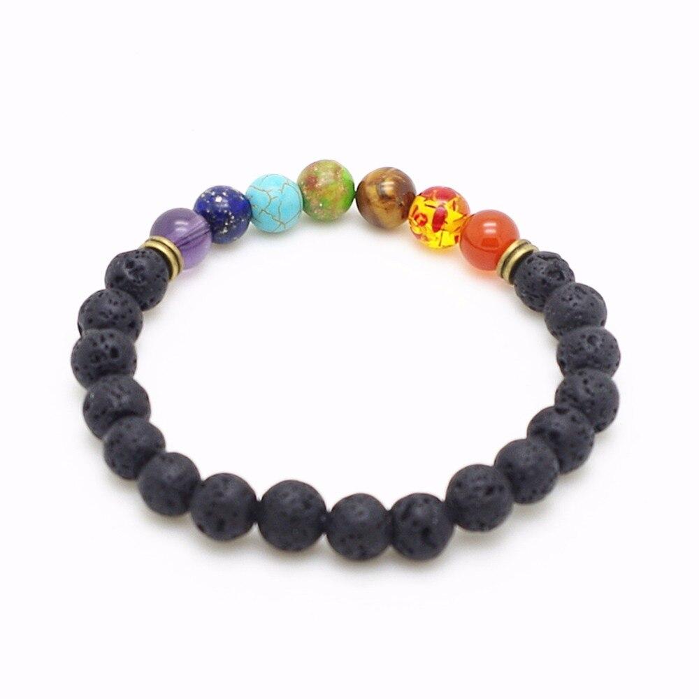 8mm Beads Lava Rock 7 Chakra Healing Balance Bracelet for Men Women Reiki Prayer Stone Yoga Chakra Bracelet Pulseras Mujer