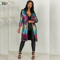 2017 Autumn Long Jacket Blingbling Coat Leather Pant Set New Year Coats Women Windbreaker Halloween Party