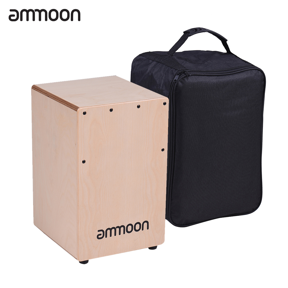 ammoon wooden cajon box drum hand drum percussion instrument birch wood with adjustable strings. Black Bedroom Furniture Sets. Home Design Ideas