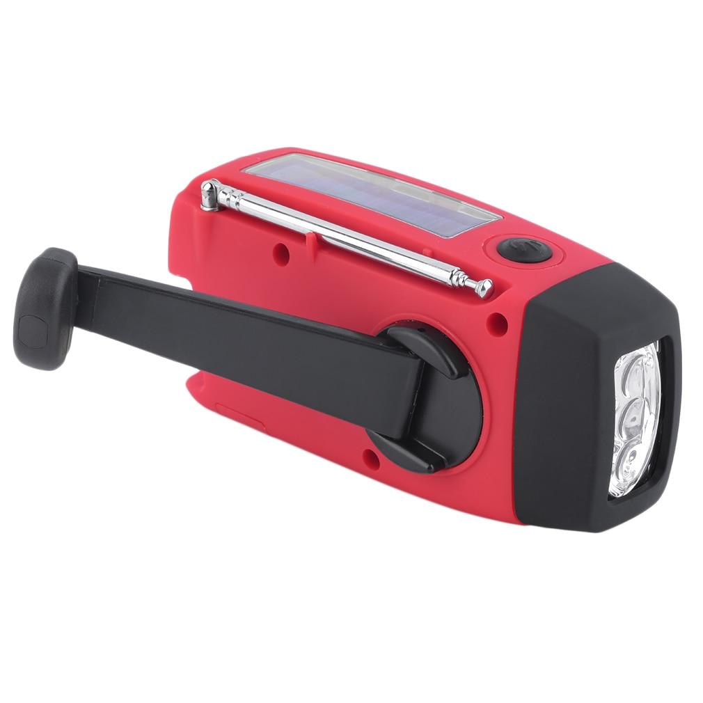 New Protable Solar Radio Hand Crank Self Powered Phone Charger 3 Led Flashlight Am/fm/wb Radio Waterproof Emergency Survival Red Radio Tragbares Audio & Video