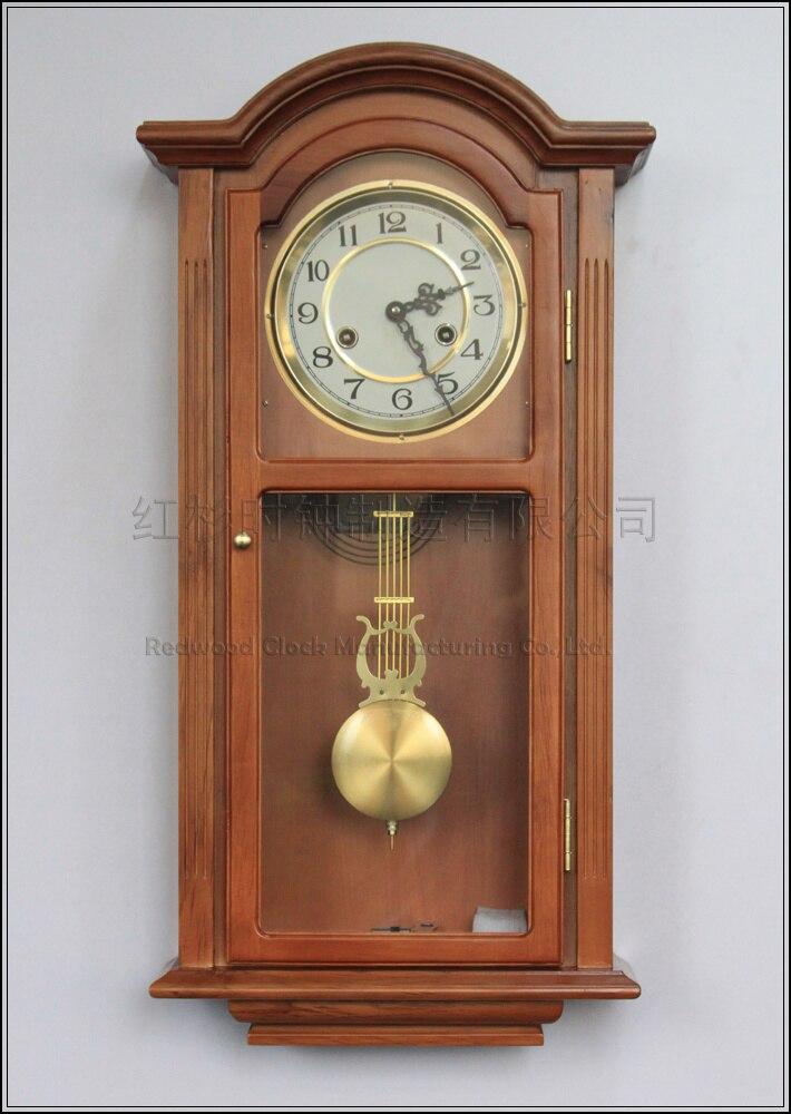 European wood wall clock pendulum Tuo living room wall clock