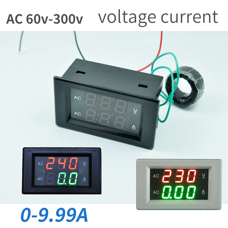 AC80-300V AC 0-9.99A Led Volt Amp Meter Voltage Meter Current Meter Ampere Panel Tester Meter Digital Voltmeter Ammeter 1 pcs black ac digital ammeter voltmeter lcd panel amp volt meter 100a 300v 110v 220v brand new hot sale