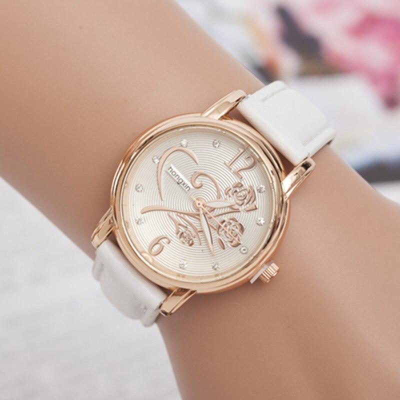 Relojes de moda de las mujeres de lujo Casual relojes analógicos señoras relojes de cuarzo cuero reloj montre femme hodinky AC052