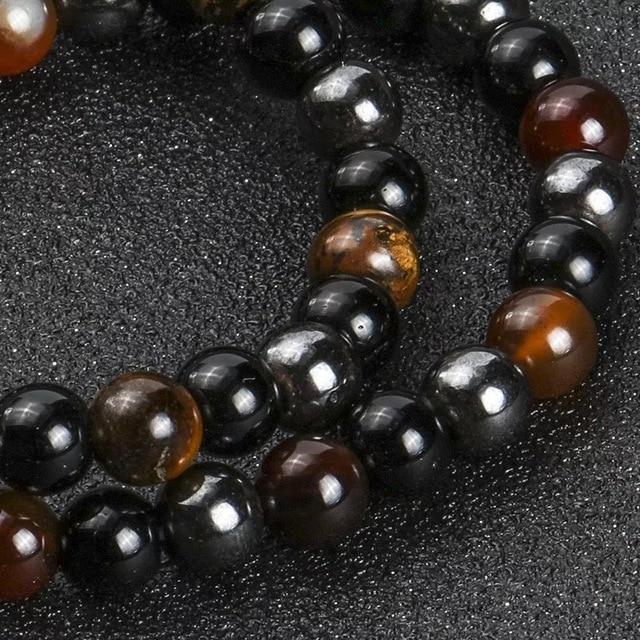 Bracelet Hematite Oeil De Tigre Obsidienne