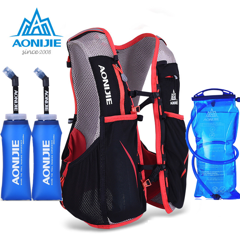 AONIJIE  Women Men Marathon Hydration Vest Pack Running Water Bag Cycling Hiking Bag Outdoor Sport light weight Running Bag aonijie men women outdoor sports lightweight running 8l backpack marathon cycling hiking bag with 1 5l hydration water bag