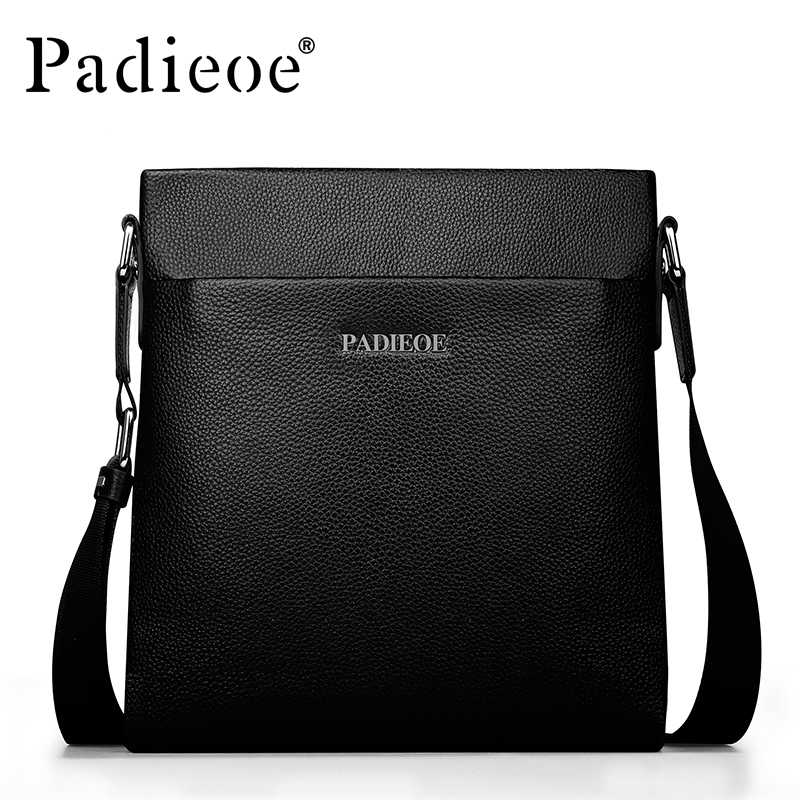 PADIEOE Men Bag Genuine Leather Casual Male Crossbody Shoulder Messenger Bags