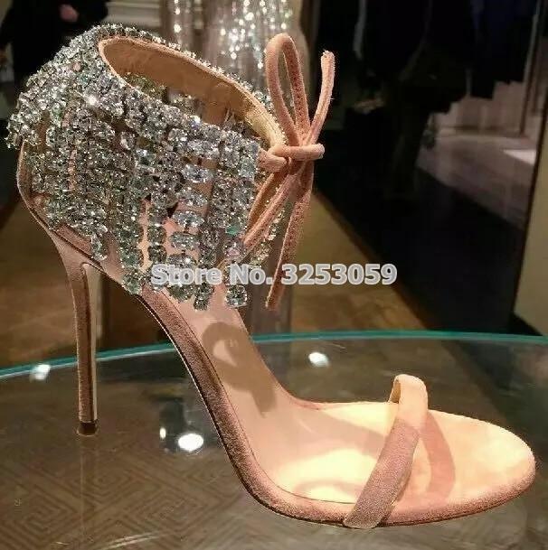 c4ed52ee2e01 Women Chic Gold Silver Nude Black Single Strap Sandal Shoes Thin High Heels  Crystal Fringe Pump