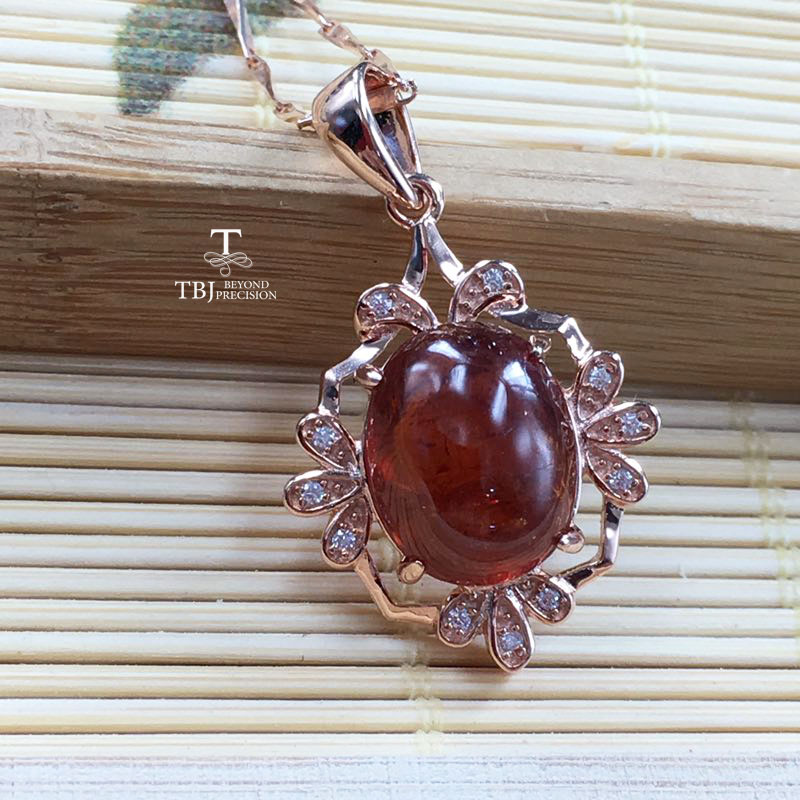 TBJ, limited Chinese style pendant with fenda olorspessartine Garnet gemstone in 925 sterling silver ,a special gift for womenTBJ, limited Chinese style pendant with fenda olorspessartine Garnet gemstone in 925 sterling silver ,a special gift for women