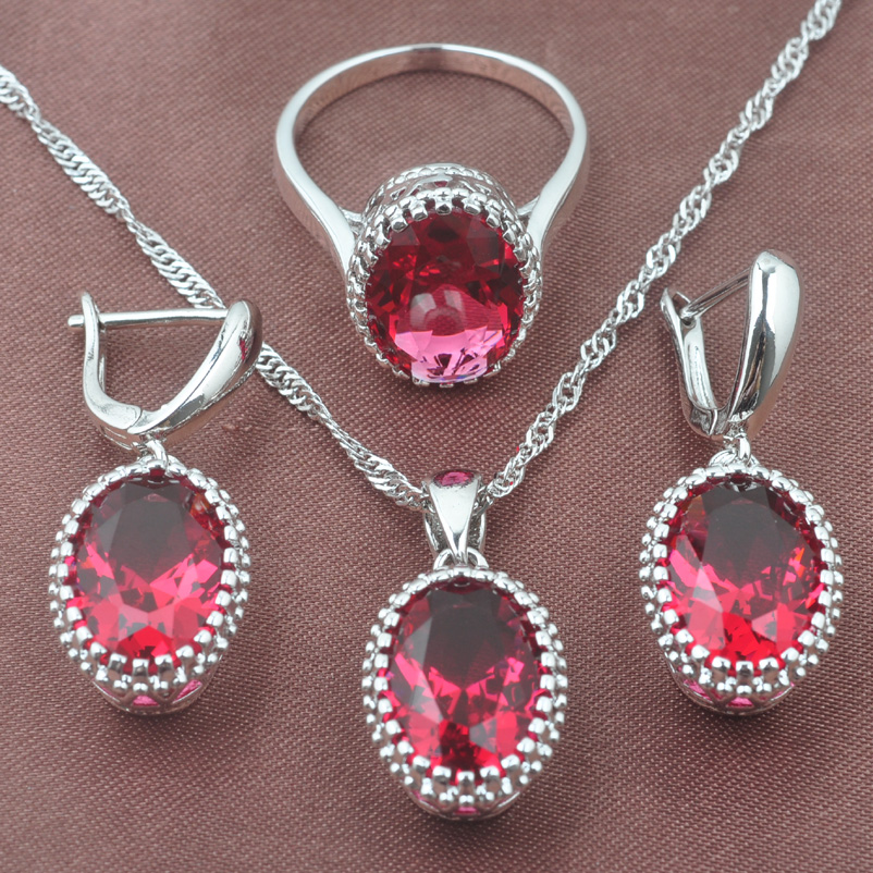 925 Sterling Silver Jewelry Set Occident Style Rose Red Zircon Oval Wedding Jewelry Necklace Pendant Earrings Ring TZ0190(China)