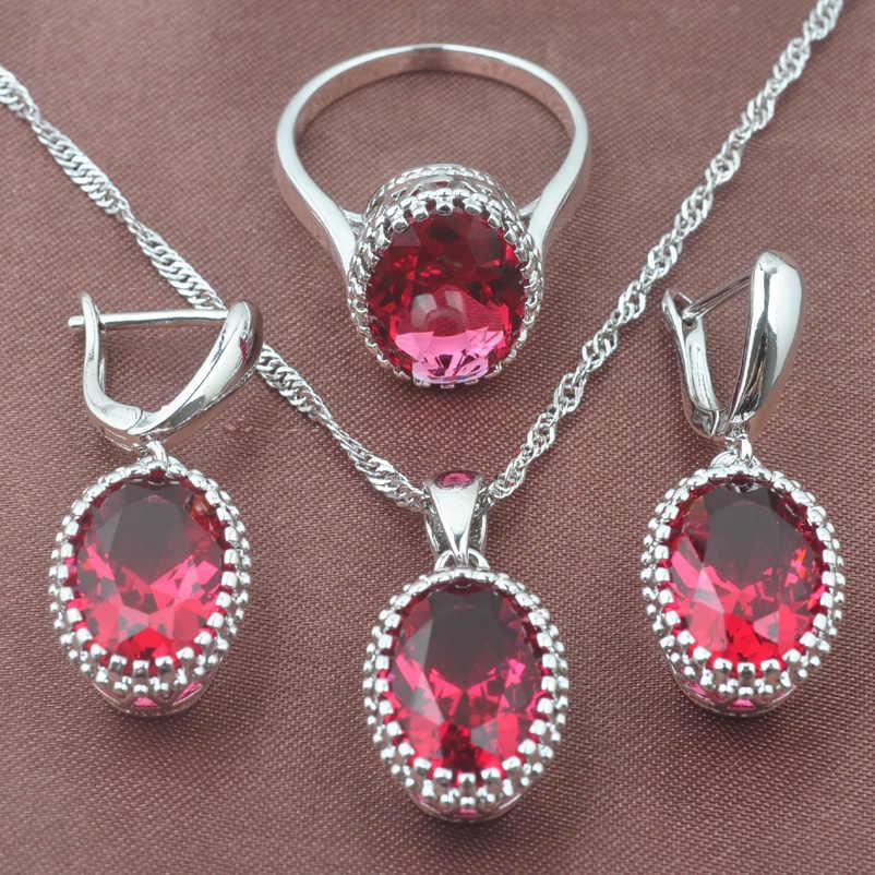 925 סטרלינג תכשיטי כסף סט מערב סגנון רוז אדום זירקון סגלגל חתונה תכשיטי שרשרת תליון עגילי טבעת TZ0190