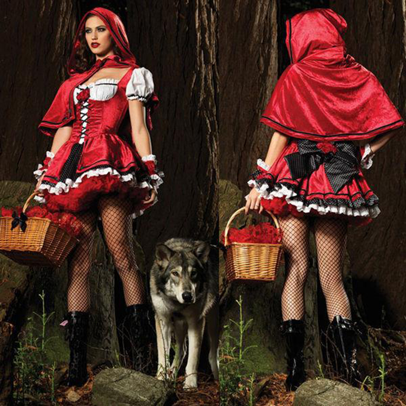 Hot Sale Witch Costumes Dress Christmas Little Red Riding Hood Fairy Tale Witch Costume DS Perform Holloween Cosplay For Women