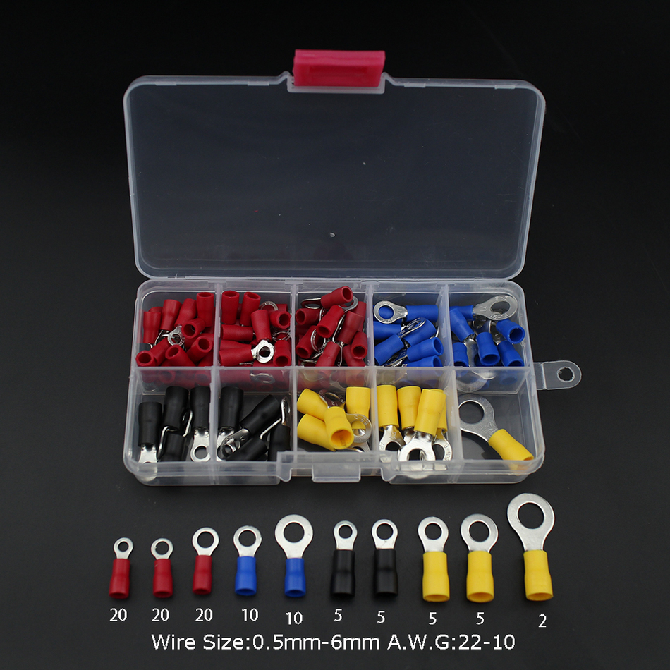 102pcs Terminal fork ring Copper Crimp Comector Insulated Cord End set Wire Electrical tips crimping sleeves red 800pcs cable bootlace copper ferrules kit set wire electrical crimp connector insulated cord pin end terminal hand repair kit