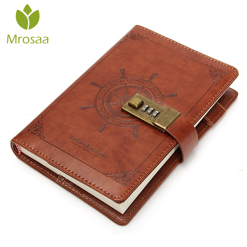 1Pcs Vintage Rudder Brown Leather Journal Blank Diary Note Book with Password Code Lock Office School Stationery Supplies Gifts1Pcs Vintage Rudder Brown Leather Journal Blank Diary Note Book with Password Code Lock Office School Stationery Supplies Gifts