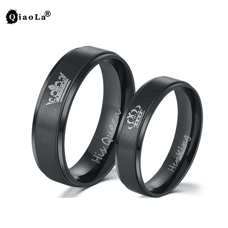 "Black Color Design Couple Rings ""His Queen ""and ""Her King"" for Lovers Valentine's Day Gifts Women/Men Wedding Ring dropshipping"