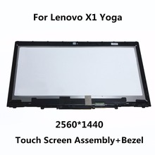 "New 14"" IPS LCD Touch Screen Matte Display Assembly Digitizer with Bezel VVX14T058J LP140QH1.SPE1 For Lenovo X1 Yoga 2560X1440"