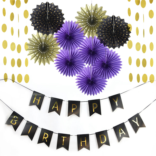 11pc Purple Gold Black Party Decoration Set Happy Birthday Banner