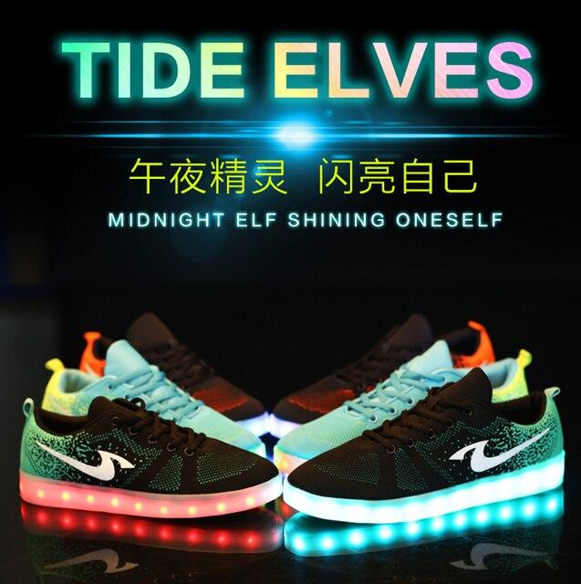 311f3cefe Nuevos 2015 zapatos de mujer hombre pareja llevó las luces de los zapatos  moda casual zapatillas