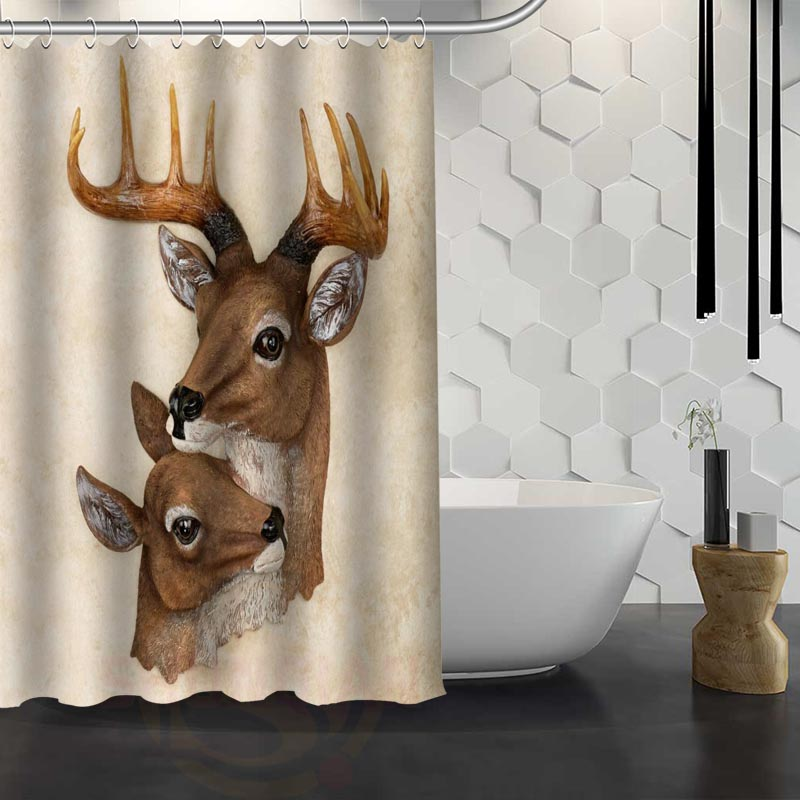 Hot Sale Custom Deer Animal Head Shower Curtain Waterproof Fabric Shower  Curtain For Bathroom F#