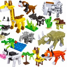 Legoing Minecrafted Animali Giraffe Coccodrillo Animali Tigre Cavallo Bestiame Mucca Squalo Building Blocks Set di Giocattoli Legoings Minecrafte(China)