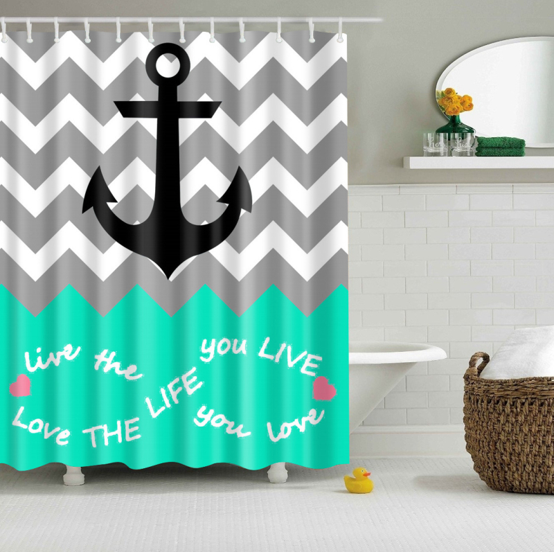 Anchor Geometric Print Curtains Waterproof Bathroom Curtains Polyester  180x180cm Decoration With Hooks(China (Mainland