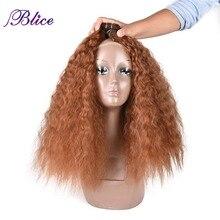 Blice кудрявый вьющиеся Инструменты для завивки волос 18-22 дюймов природа Цвет волна, синтетические волосы, для увеличения объема, с двойной Weft пряди коричневый 3 шт./упак
