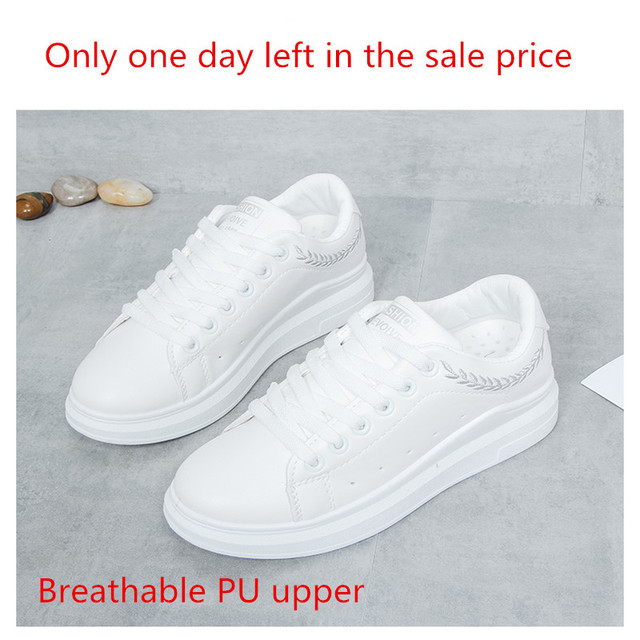 New 2018 Lady Pu leather Platform Shoes Sneakers Flat Sneakers Woman Sport Fashion Brand Breathable White Sneakers 5