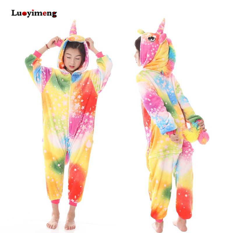 decc8e964 New Kids Kigurumi Rainbow Unicorn Sleepers Girl Boys Jumpsuit ...