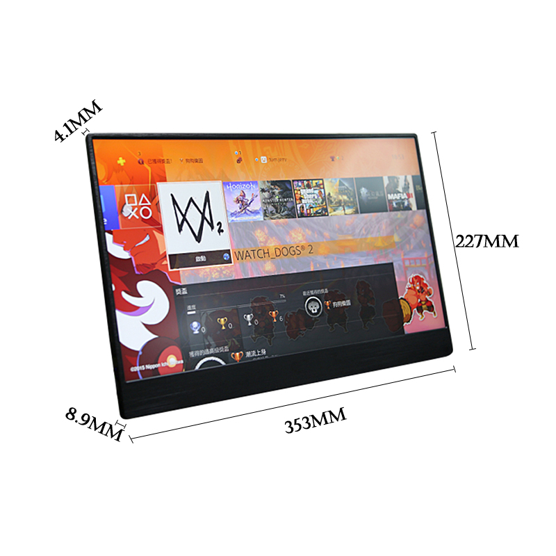 15.6 Inch 4.1mm Super Thin High Light IPS Portable HDR Game Monitor For PS4 Xbox Switch HDMI USB 1080p LCD Screen For PC Laptop monitor portátil hdmi ps4