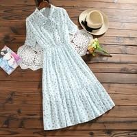 Flower Female Slim Waist Summer Floral Printing Short Sleeve Dress