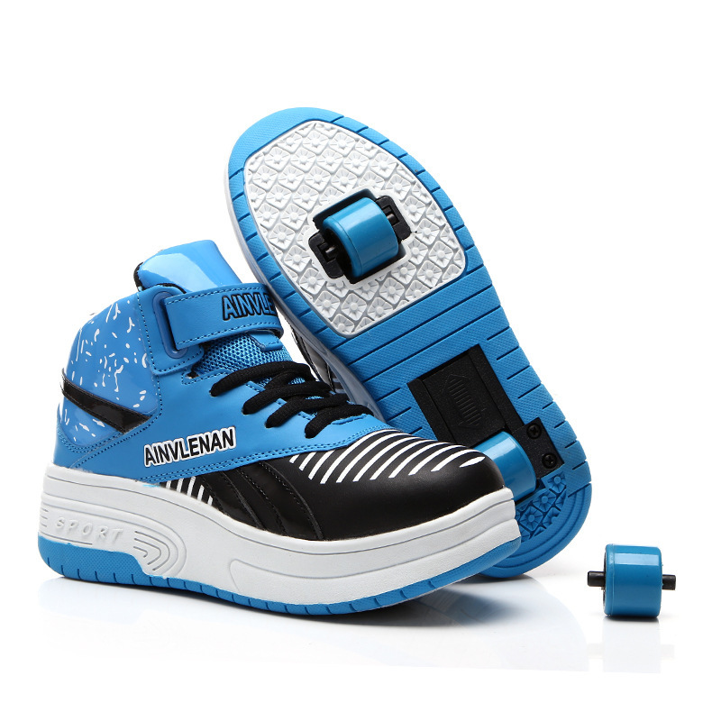 2017 autumn kids shoes sneakers for children breathable two wheels roller wheels boy gill. Black Bedroom Furniture Sets. Home Design Ideas