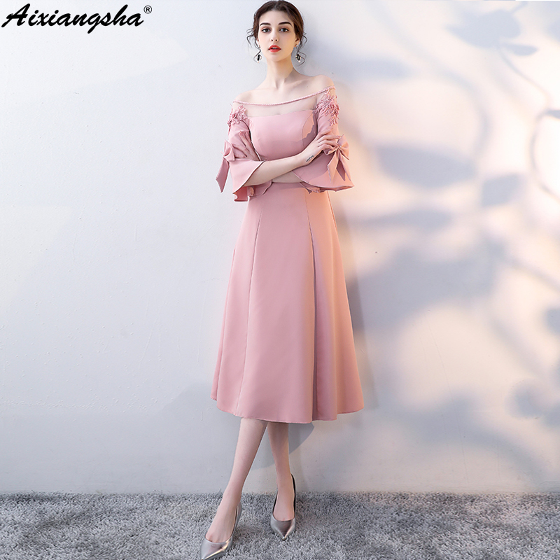Fashion Vestido De Festa Homecoming Dresses Mezuniyet Elbiseleri Graduation Dresses Custom Color Cheap Elegent Tea Length Dress