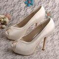 Wedopus Women Platform Heel Shoes Peep Toe Ivory Satin Bridal Shoes Wedding